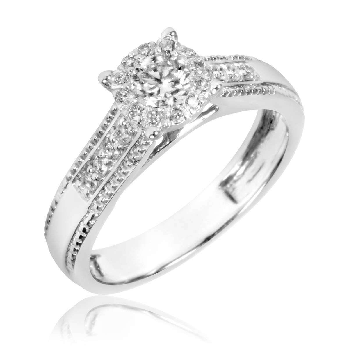 7/8 Carat T.w. Diamond Trio Matching Wedding Ring Set 10K White Gold Pertaining To White Gold Engagement And Wedding Rings (Gallery 12 of 15)