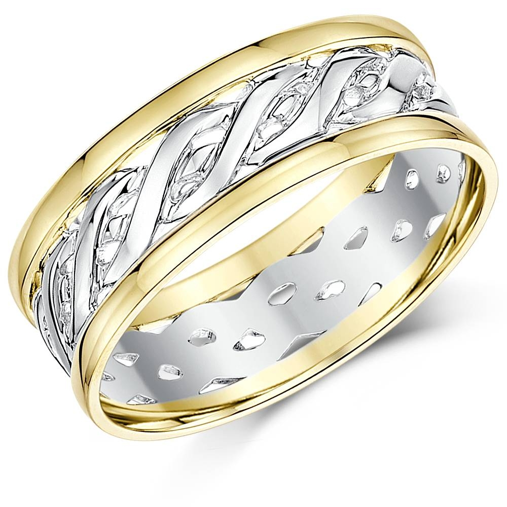 7Mm 9Ct Yellow & White Gold Two Colour Celtic Wedding Ring Band In Celtic Style Engagement Rings (View 1 of 15)