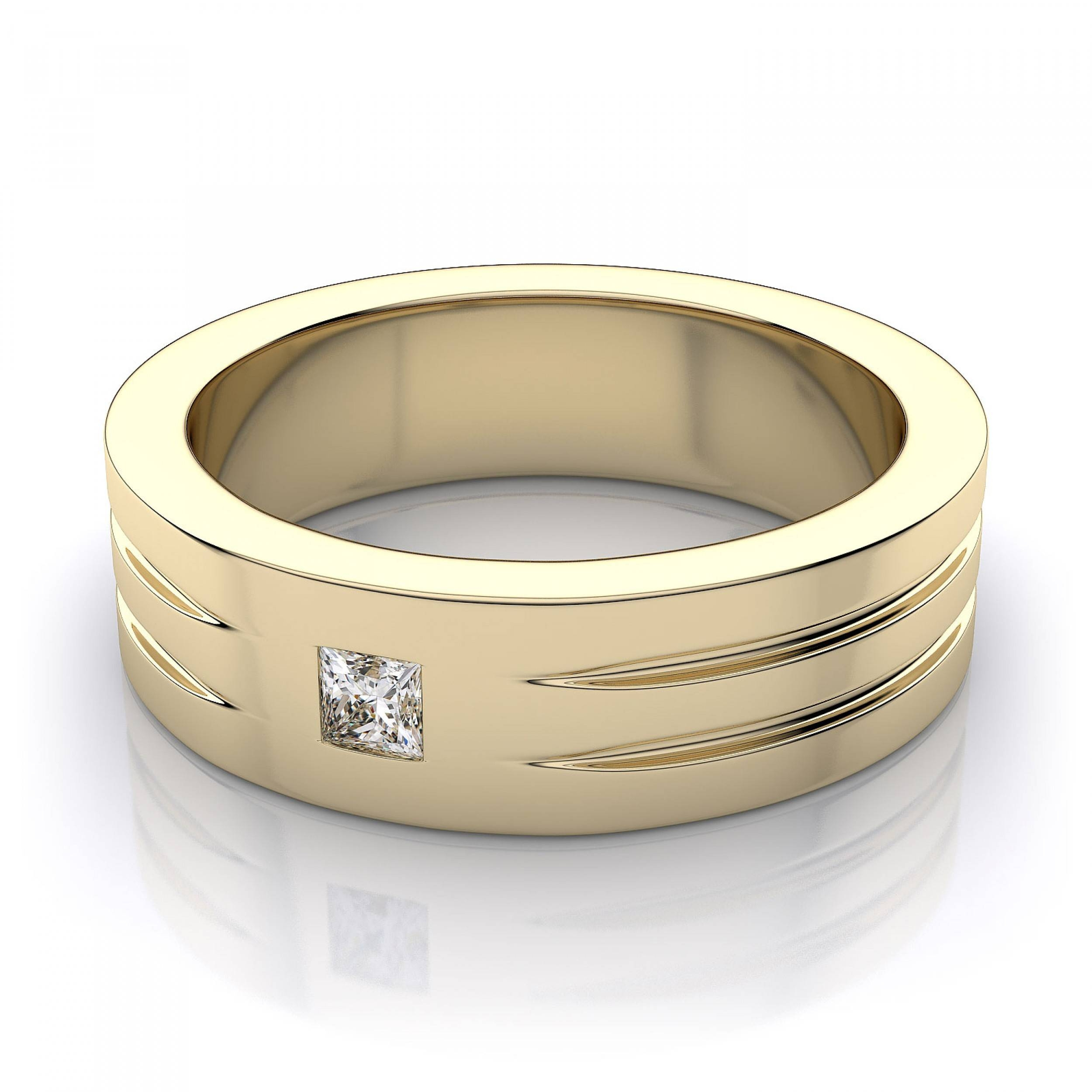 7Mm Men's Princess Cut Diamond Wedding Ring In 14K Yellow Gold With Princess Cut Diamond Wedding Rings (View 4 of 15)