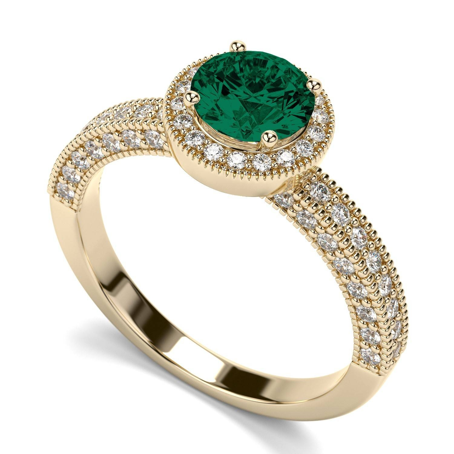 7mm Victorian Vintage Round Emerald Gemstone Engagement Ring In Within Emrald Engagement Rings (View 11 of 15)