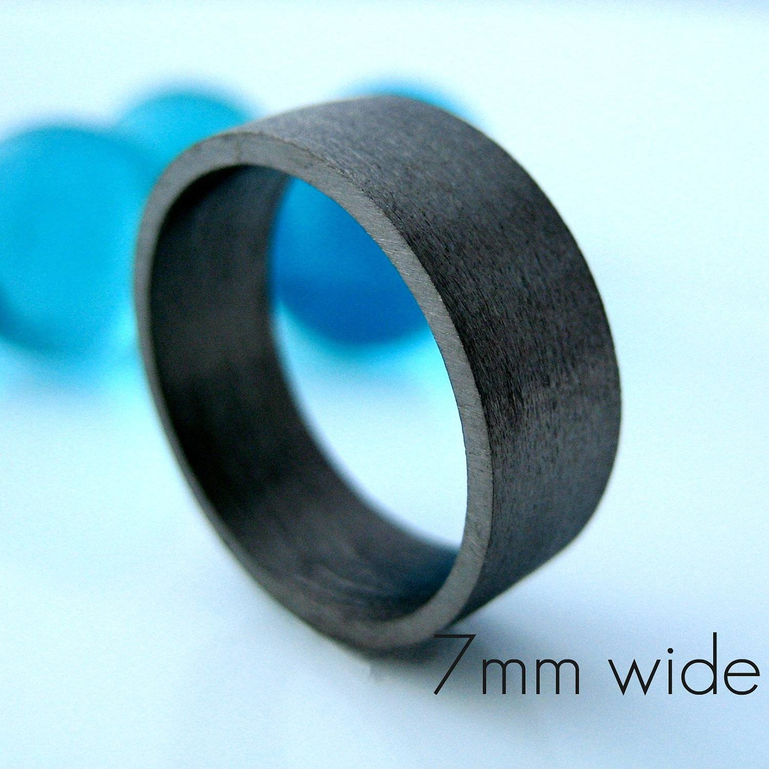 7Mm Wide Wedding Band Black Gold Ring Personalize And Within Flat Black Wedding Bands (View 1 of 15)