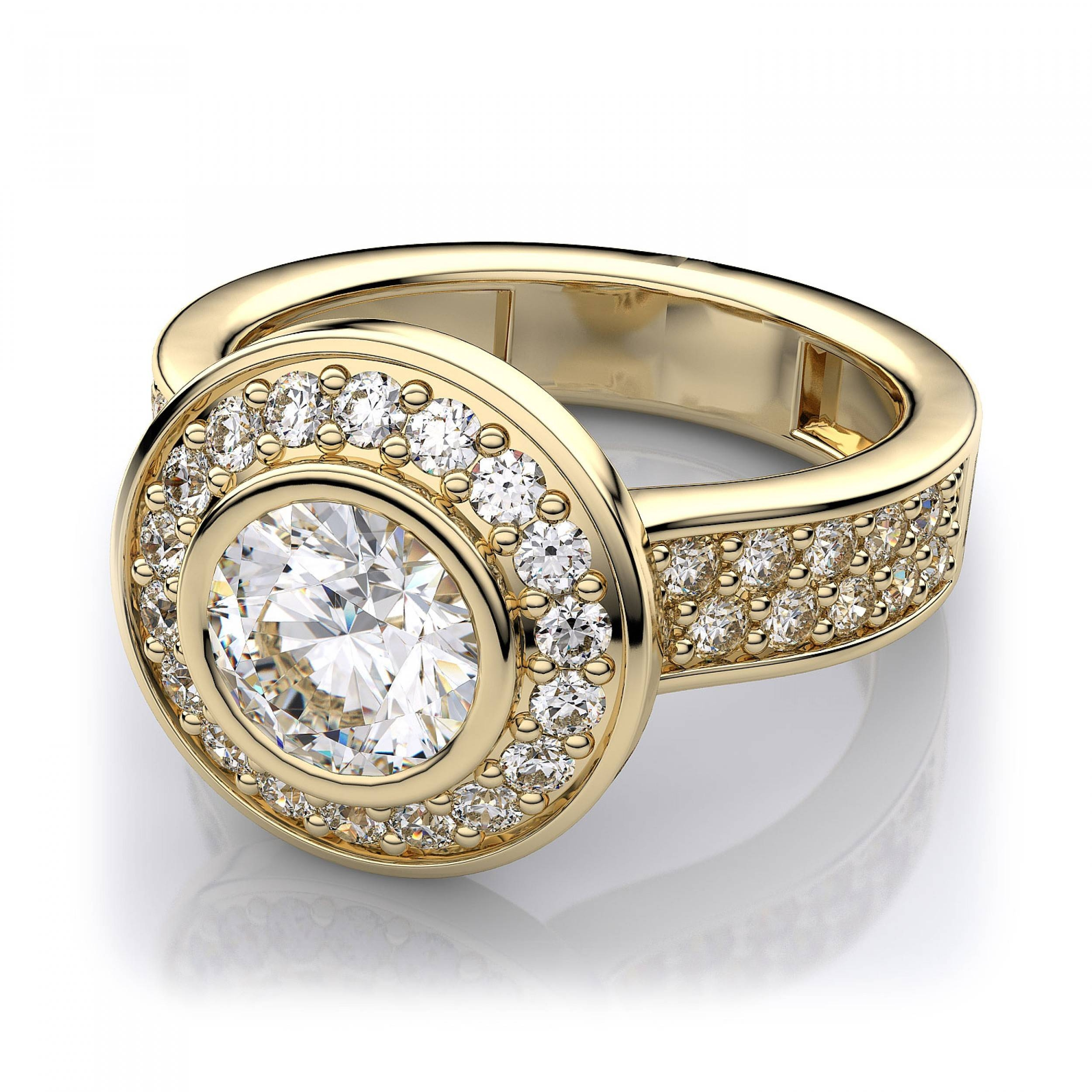 84Ctw Modern Round Halo Bezel Engagement Ring In 18K Yellow Gold Intended For Engagement Rings 18K Yellow Gold (View 3 of 15)