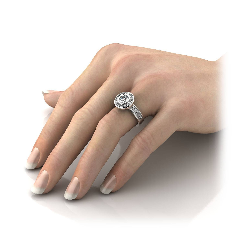 84Ctw Modern Round Halo Bezel Set Diamond Sidestones Ring Mount In For Bezel Wedding Rings (Gallery 15 of 15)