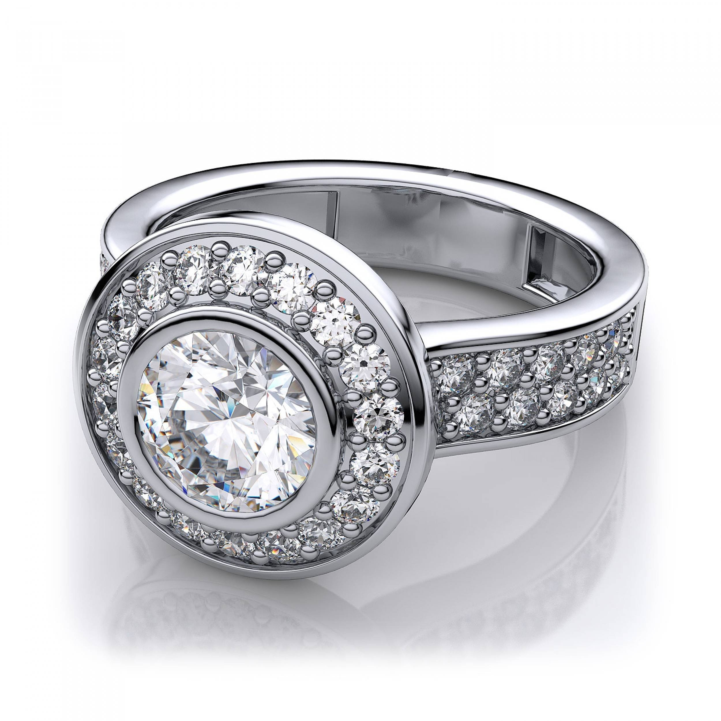 84Ctw Modern Round Halo Bezel Set Diamond Sidestones Ring Mount In Within Pear Bezel Engagement Rings (View 4 of 15)