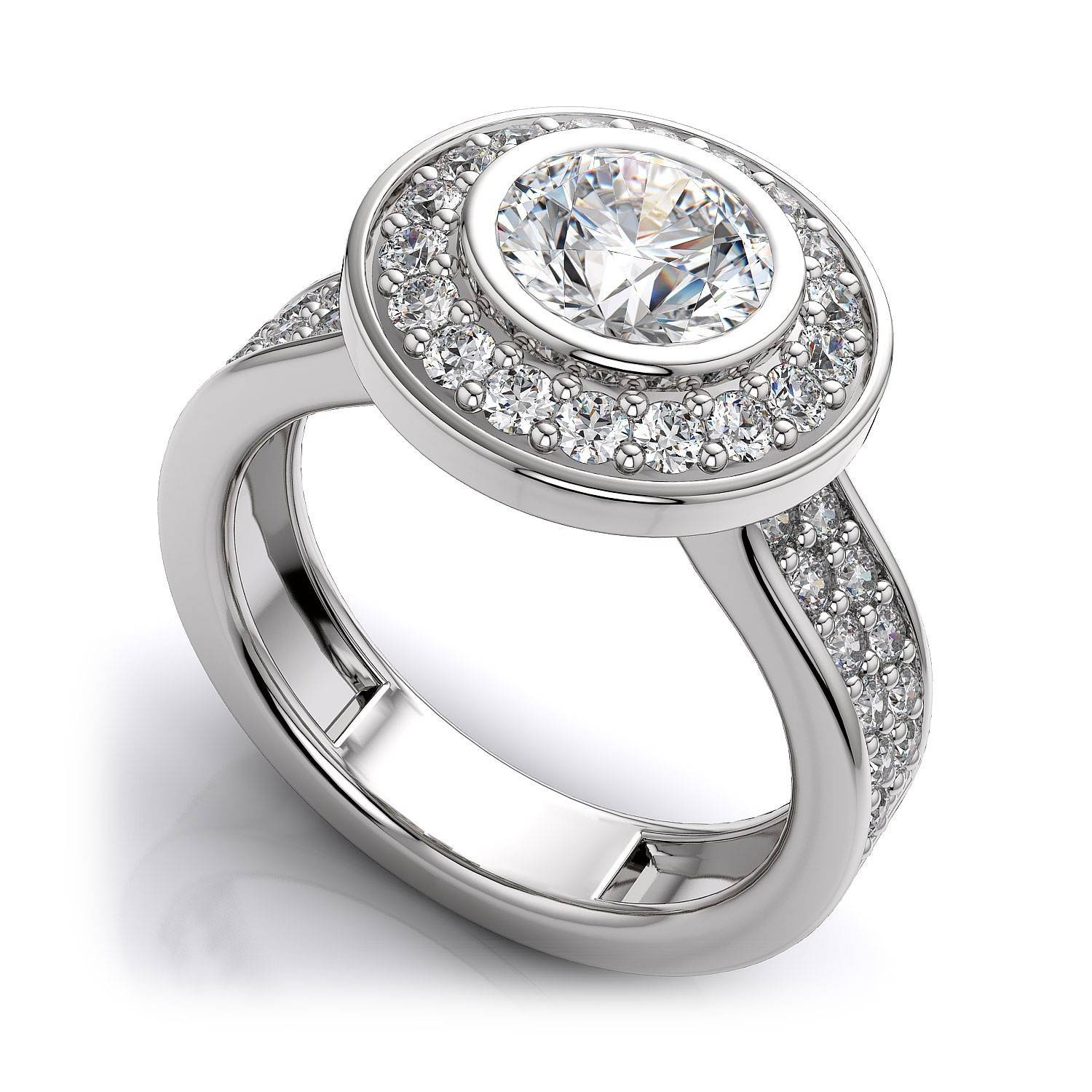 84Ctw Modern Round Halo Bezel Sidestones Engagement Ring Setting Within Bezel Wedding Rings (Gallery 14 of 15)
