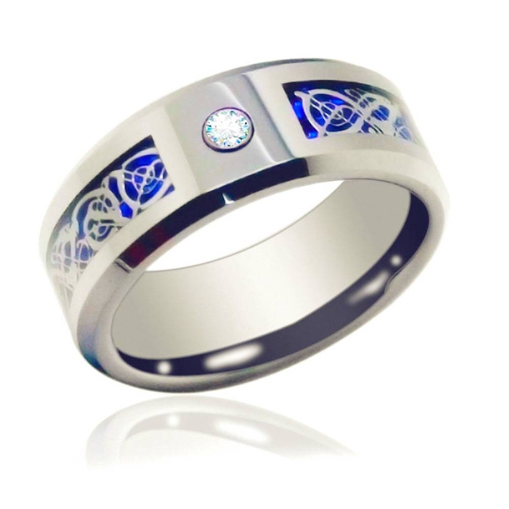 8Mm Blue Black Silvering Celtic Dragon Tungsten Carbide Engagement With Regard To Mens Celtic Engagement Rings (View 2 of 15)