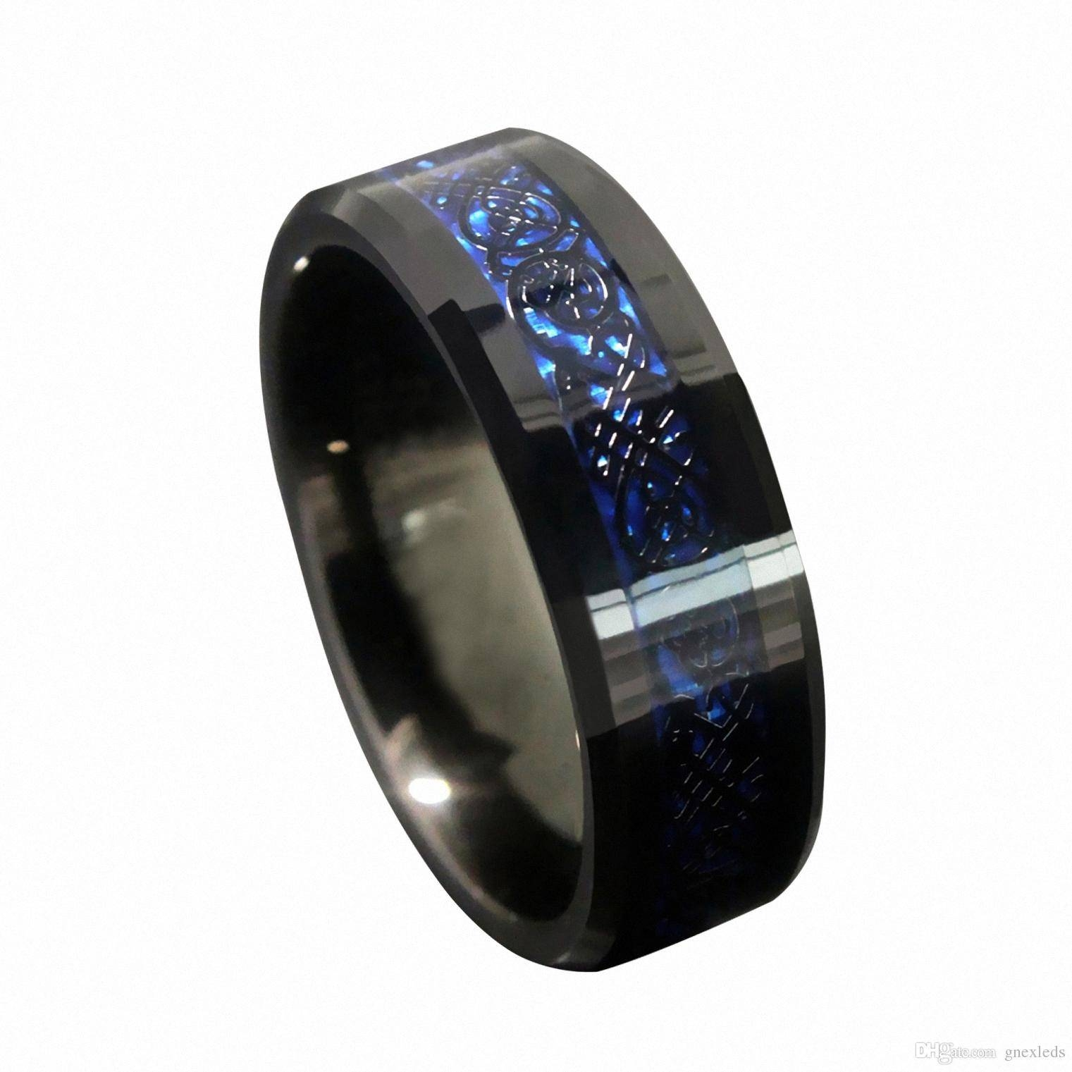 8Mm Blue Black Silvering Celtic Dragon Tungsten Carbide Engagement Within Tungston Wedding Rings (View 2 of 15)