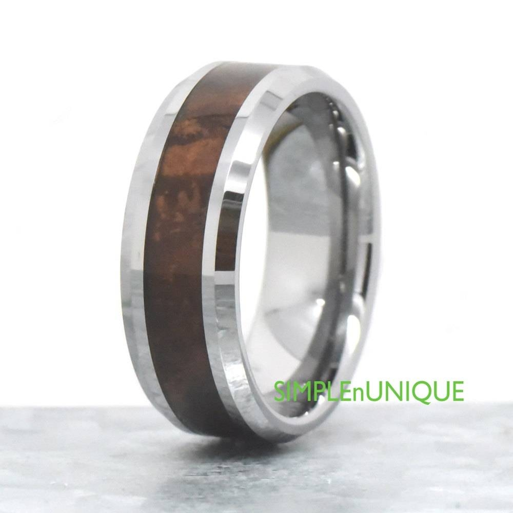 8Mm Mens Wedding Band Mens Wood Wedding Band Mahogany Wood Inside Tungsten Wedding Bands With Wood Inlay (View 1 of 15)