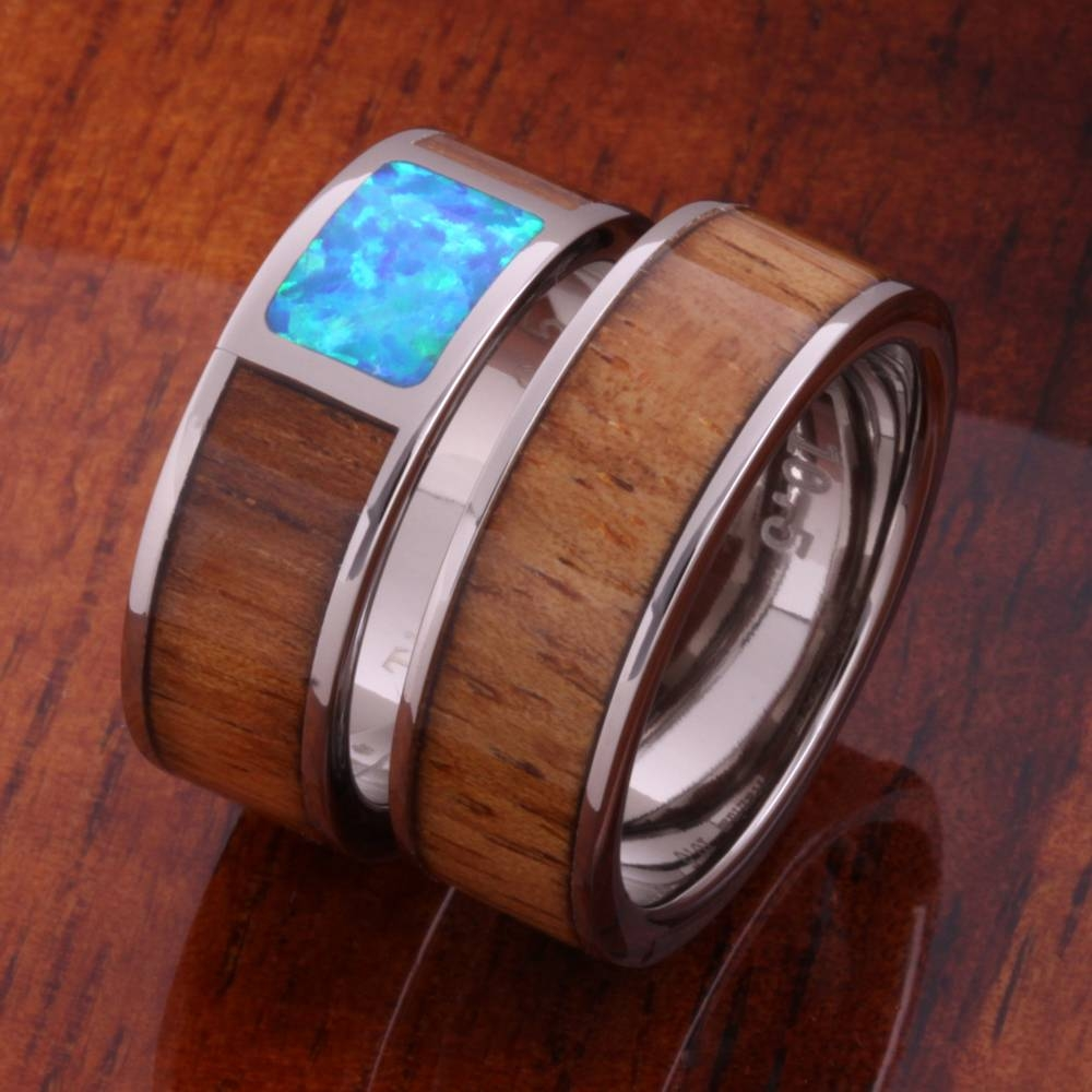 8Mm Natural Hawaiian Koa Wood And Opal Inlaid Titanium Wedding Intended For Horn Inlay Titanium Wedding Bands (View 2 of 15)