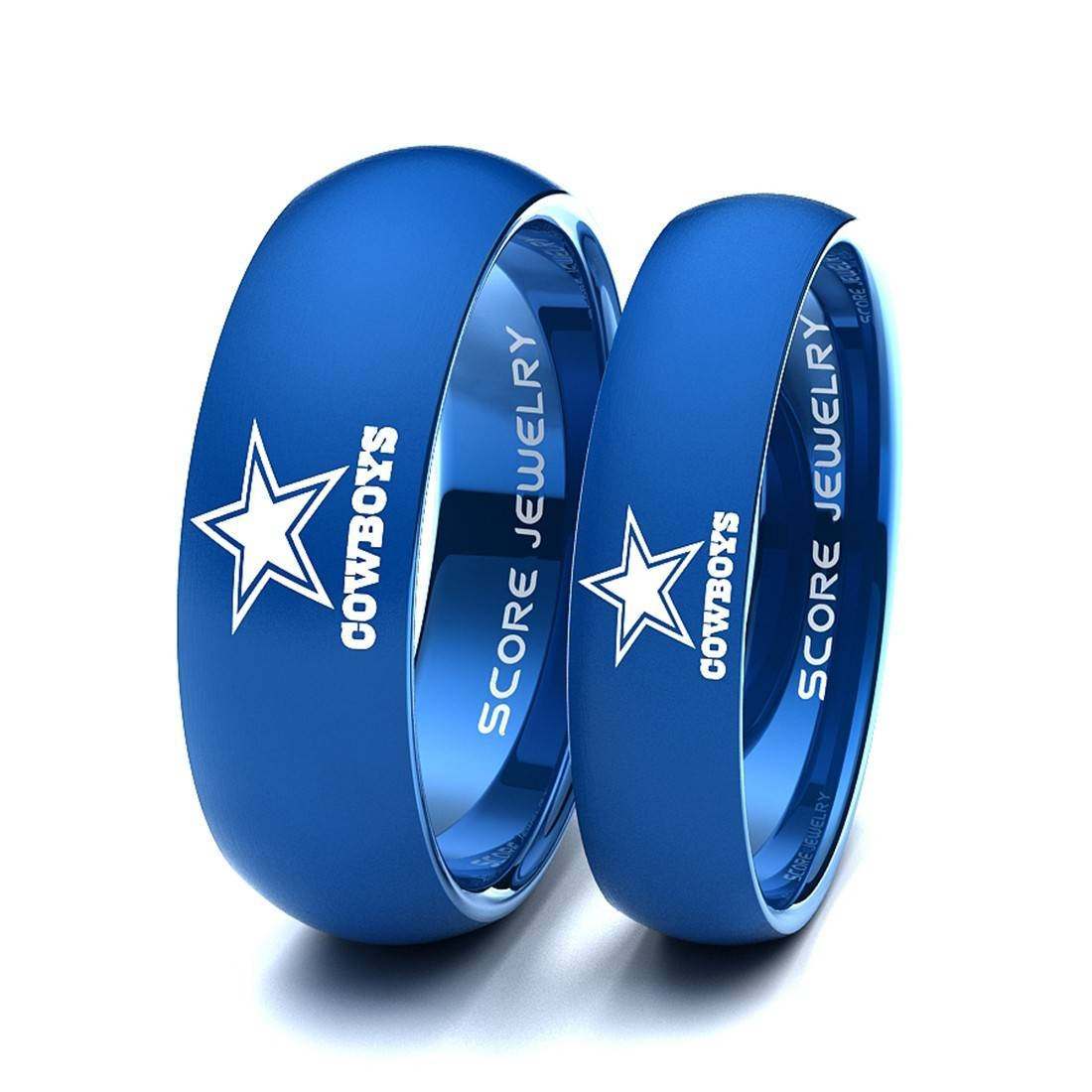 8Mm Tungsten Band With Beveled Edge And Brushed Finish Nfl With Regard To Dallas Cowboys Wedding Bands (View 2 of 15)