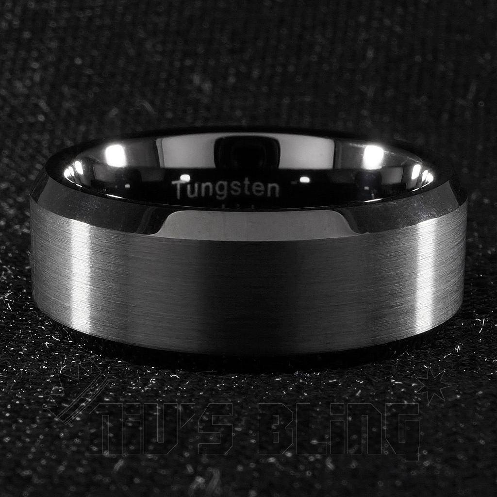 8mm Tungsten Carbide Black Wedding Band Engagement Bridal Ring In Gunmetal Wedding Bands (Gallery 3 of 15)