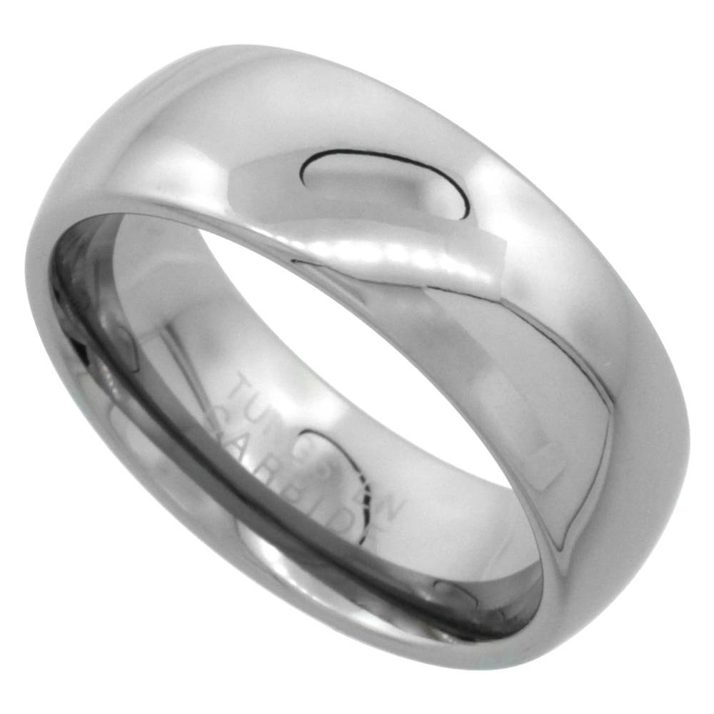 8Mm Tungsten Wedding Band Domed For Him & Her High Polish Comfort Within Tungsten Wedding Bands For Her (Gallery 12 of 15)