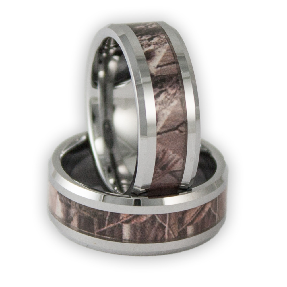 8mm Wide Men's Tree Camo Tungsten Ring Camouflage Wedding Band In Mens Camo Tungsten Wedding Bands (View 2 of 15)