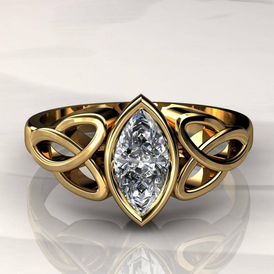 8x4mm Marquise Forever Brilliant Moissanite Celtic Engagement Ring Throughout Celtic Engagement Ring Settings (View 8 of 15)