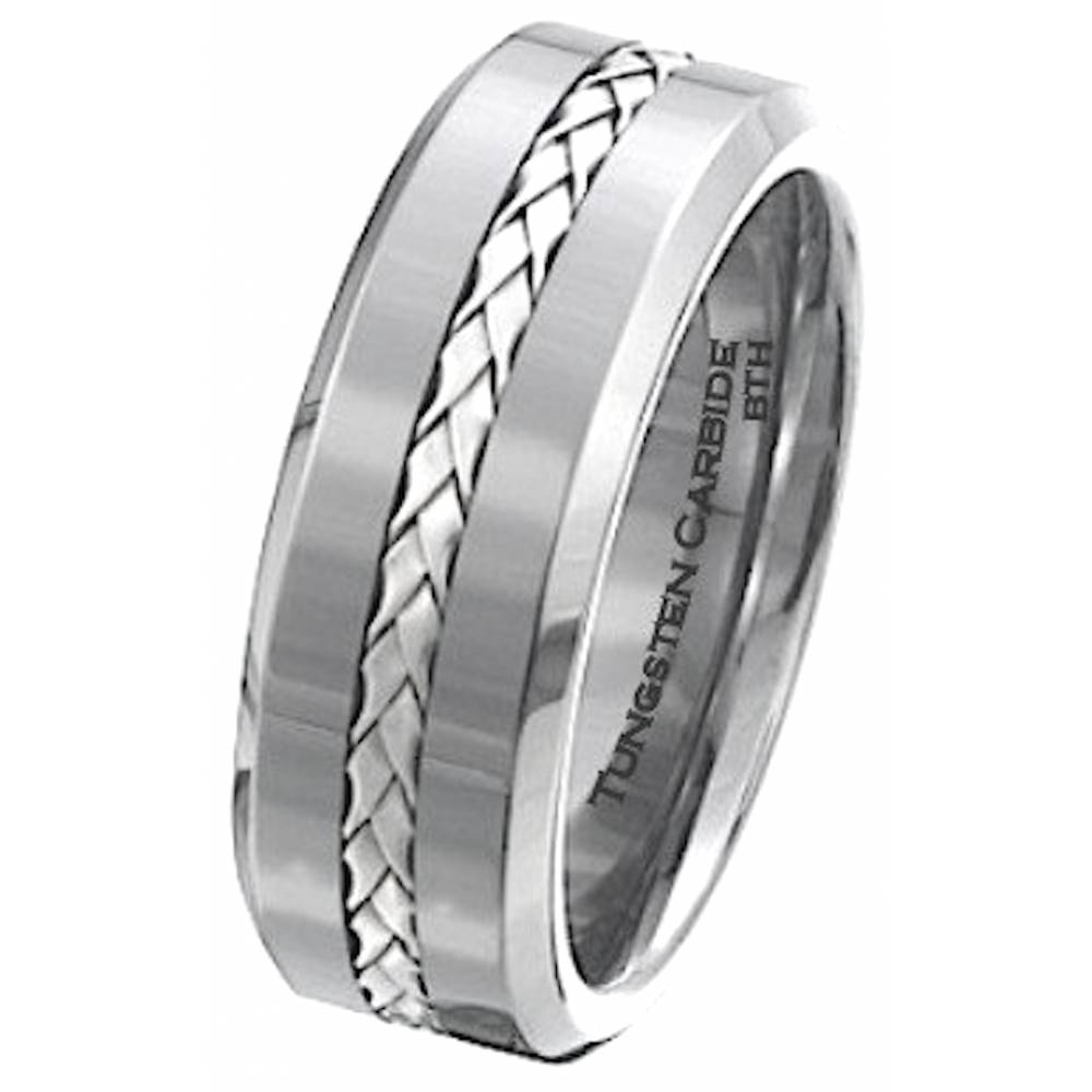 925 Silver Inlay Tungsten Carbide Scratch Resistant Wedding Pertaining To Scratch Resistant Wedding Bands (View 1 of 15)