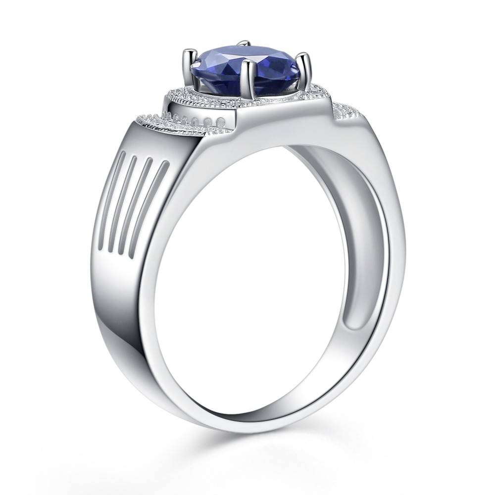 925 Sterling Silver Band Men's Simulated Oval Blue Tanzanite Pertaining To Engagement Band Rings (View 10 of 15)