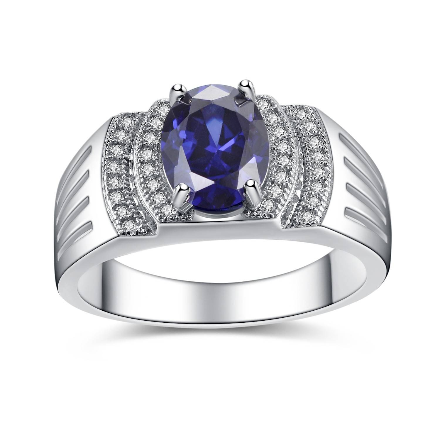 925 Sterling Silver Band Men's Simulated Oval Blue Tanzanite Within Men's Cubic Zirconia Wedding Bands (View 1 of 15)