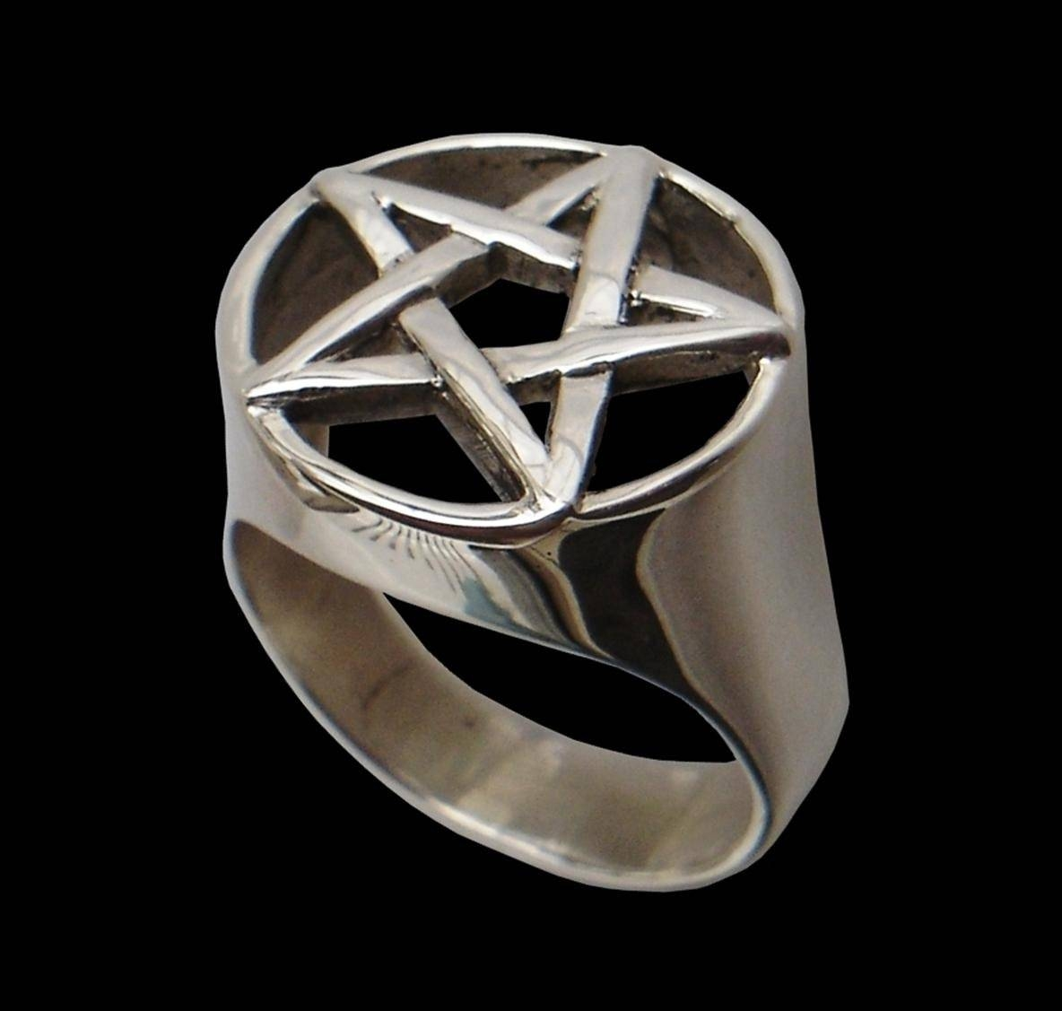 925 Sterling Silver Pentacle Pentagram Wicca Ring Power And Within Wiccan Engagement Rings (View 2 of 15)