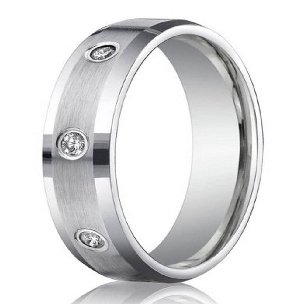950 Platinum Wedding Ring For Men With Bezel Set Diamonds, 6Mm Intended For Platinum Wedding Rings Mens (Gallery 4 of 15)