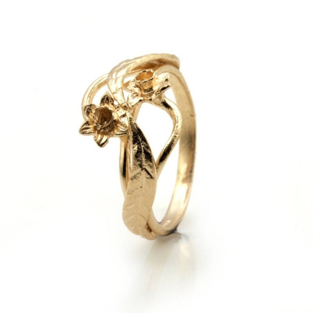 9Ct Rose Gold Ring Welsh Design Ring With Daffodil Flower – Finger Throughout Welsh Engagement Rings (Gallery 13 of 15)