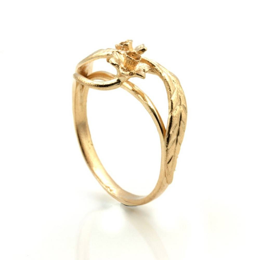 9Ct Rose Gold Ring Welsh Design Ring With Daffodil Flower – Finger Within Welsh Engagement Rings (View 4 of 15)
