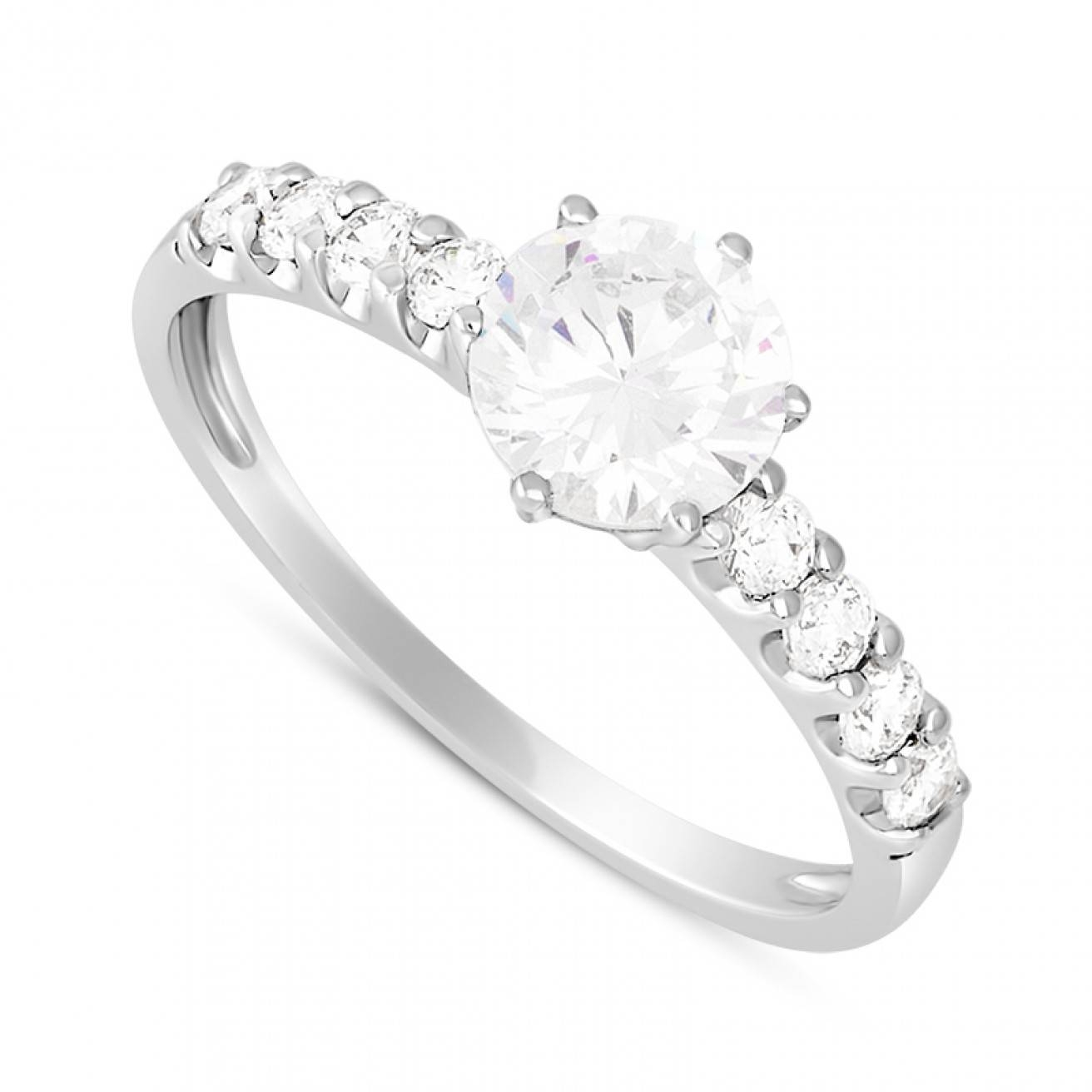 9Ct White Gold Round And Baguette Cubic Zirconia Ring Intended For White Gold Zirconia Wedding Rings (View 5 of 15)