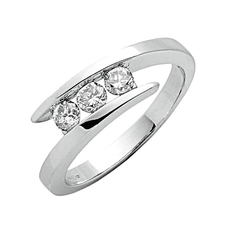9Ct White Gold Trilogy Diamond Twist Ring For White Gold Trilogy Engagement Rings (Gallery 10 of 15)
