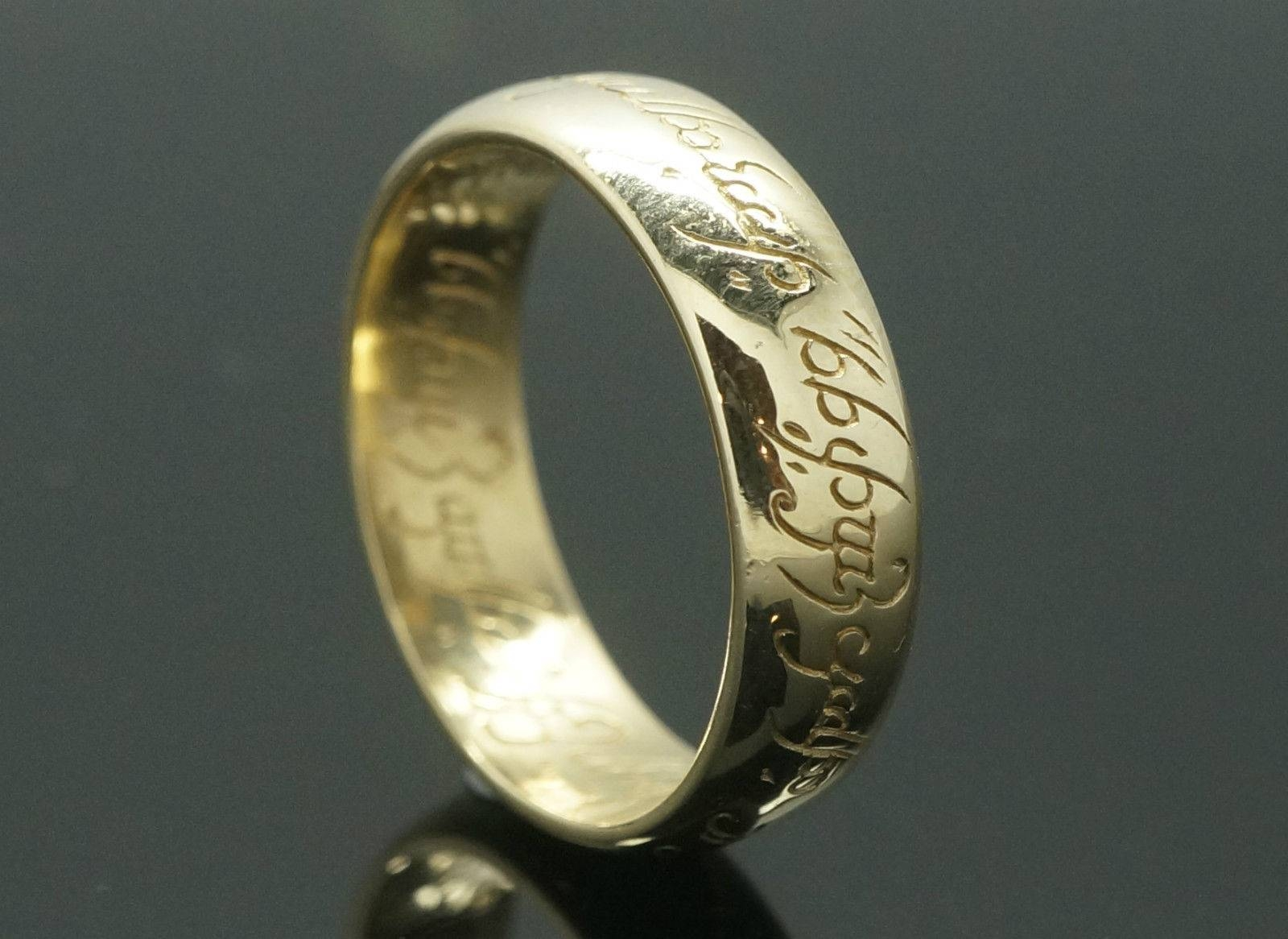 9ct Yellow Gold D Shape 'lord Of The Rings' Wedding Band (size Q Regarding Lord Of The Rings Wedding Bands (View 2 of 15)