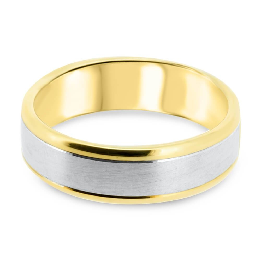 9ct yellow goldwhite gold 65mm two tone mens wedding ring p004 throughout two - Two Tone Wedding Rings