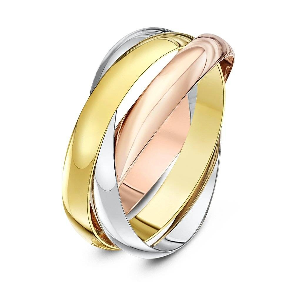 9kt Three Colour Gold 3mm Russian Wedding Ring Throughout Three Gold Wedding Rings (View 2 of 15)