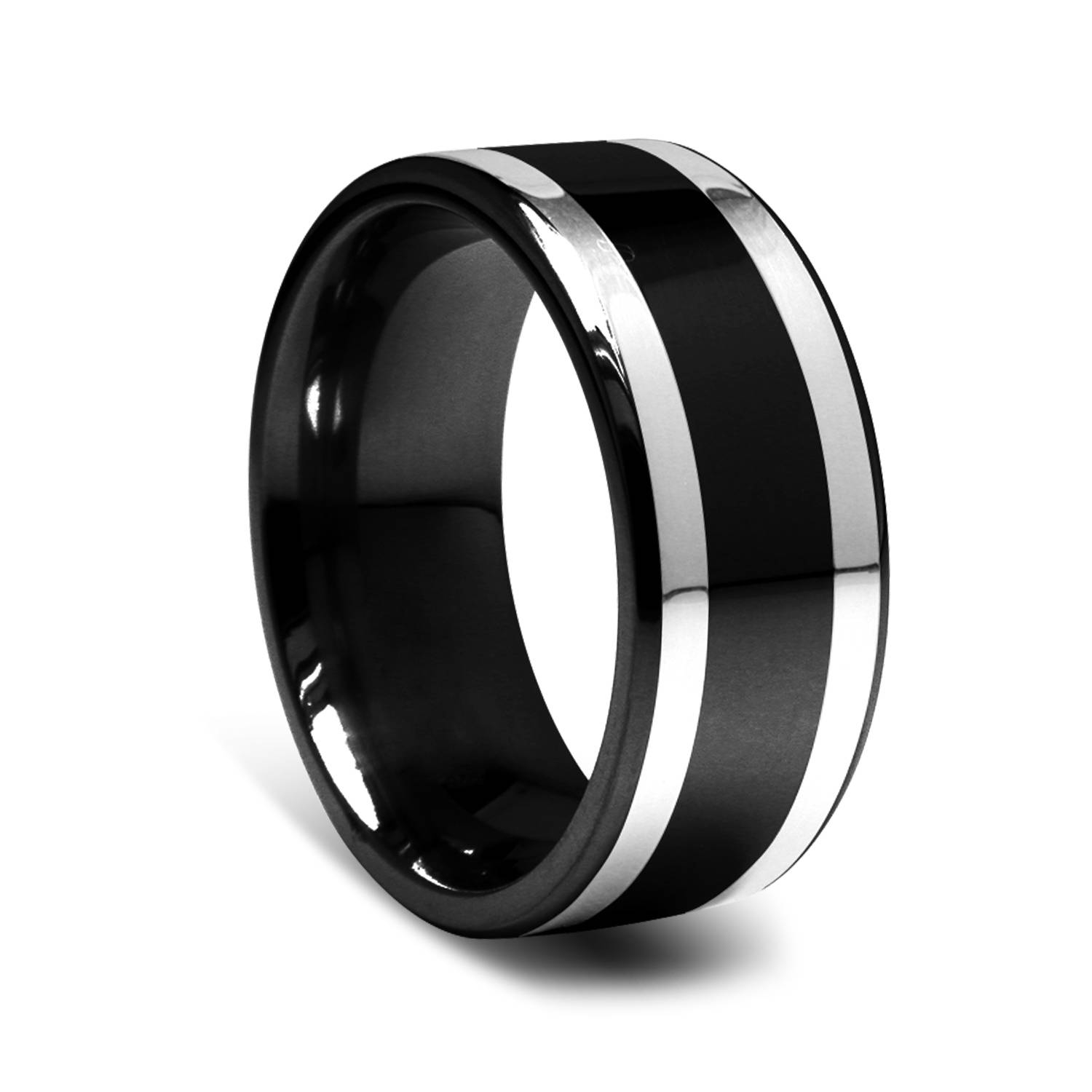 9Mm Black Titanium Men's Ring With Silver Inlay | Alpha Rings With Regard To Black Titanium Wedding Bands For Men (View 1 of 15)