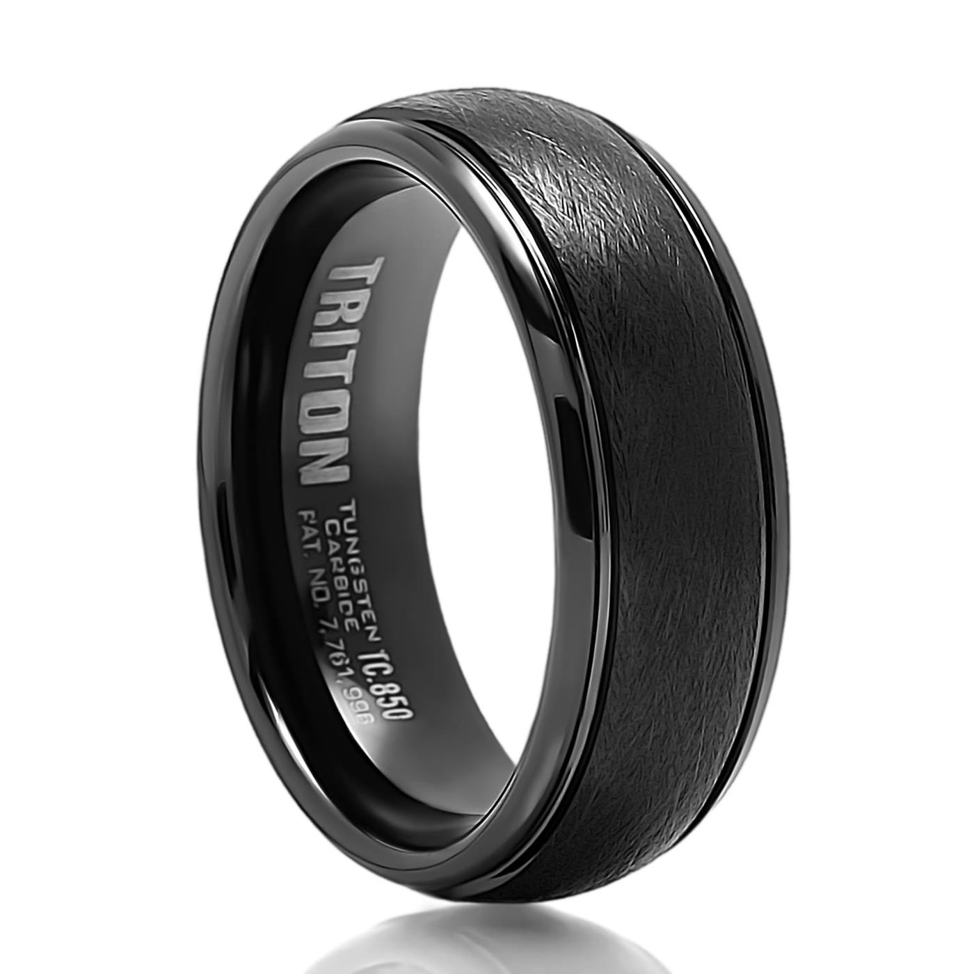 9Mm Satin Black Tungsten Carbide Ring – Triton – Men's Wedding Bands With Black Tungsten Wedding Bands With Diamonds (Gallery 15 of 15)