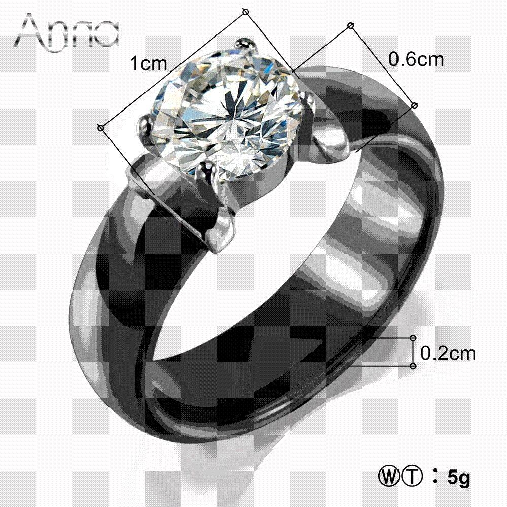 A&n New Arrival Ceramic Rings For Women Huge Zircon Cabochon With Regard To Ceramic Wedding Bands (View 11 of 15)