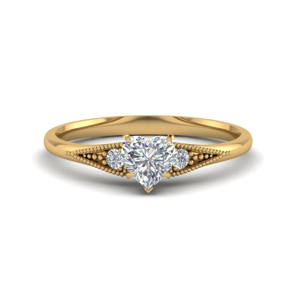 Affordable 3 Stone Heart Shaped Engagement Rings | Fascinating Intended For Three Gold Wedding Rings (View 7 of 15)