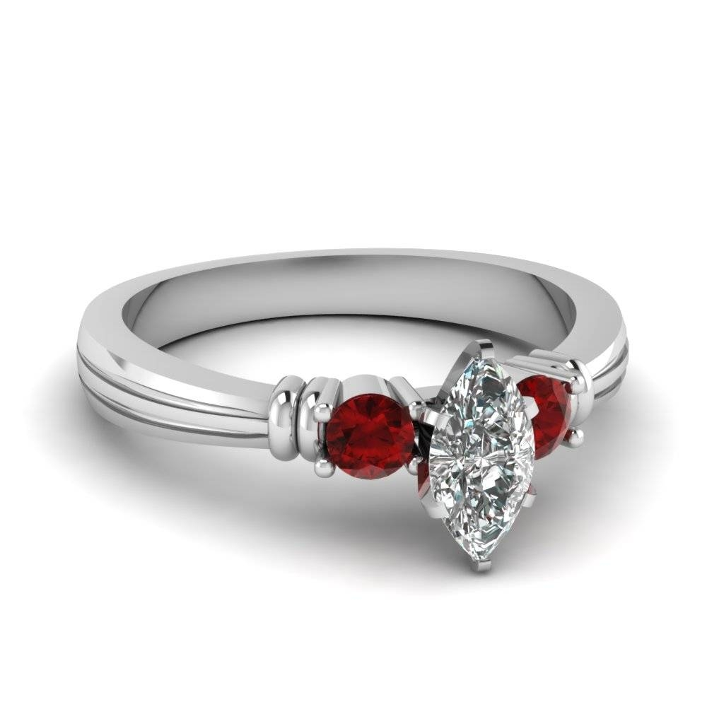 Affordable Three Stone Engagement Rings | Fascinating Diamonds Throughout Ruby Diamond Wedding Rings (View 15 of 15)