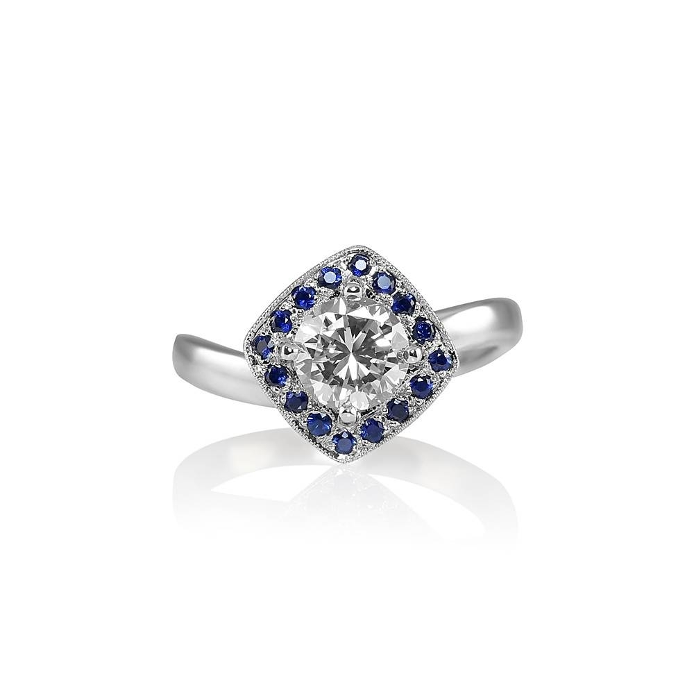 Alanna Diamond And Sapphire Halo Wave Engagement Ring Throughout Wave Engagement Rings (View 4 of 15)