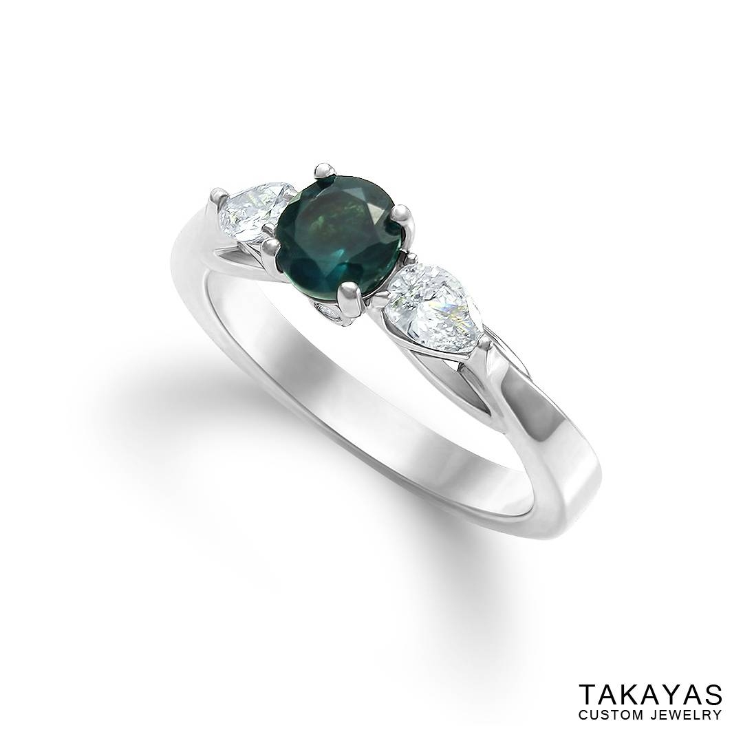 Alexandrite And Pear Diamond Engagement Ring — Takayas Custom Jewelry Intended For Alexandrite Wedding Bands (View 3 of 15)