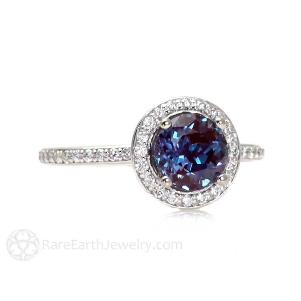 Alexandrite Engagement Ring Alexandrite Ring Diamond Halo June Pertaining To Alexandrite Wedding Bands (View 4 of 15)