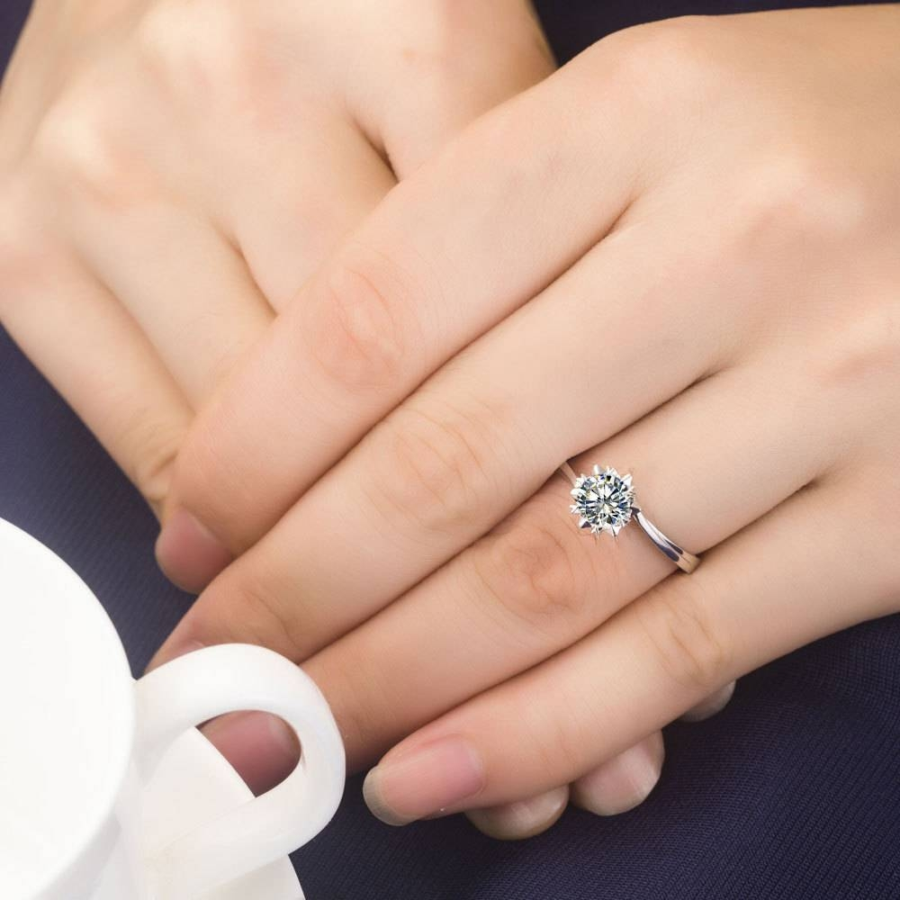 Aliexpress : Buy 1Ct Snowflake Synthetic Diamonds Ring For In 18 Karat Wedding Rings (View 6 of 15)