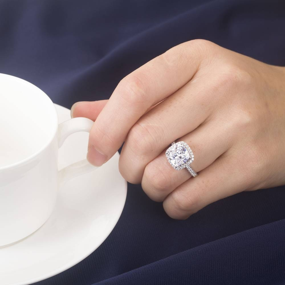 Aliexpress : Buy 3Ct Cushion Synthetic Diamonds Ring For Women In 18 Karat Wedding Rings (View 7 of 15)