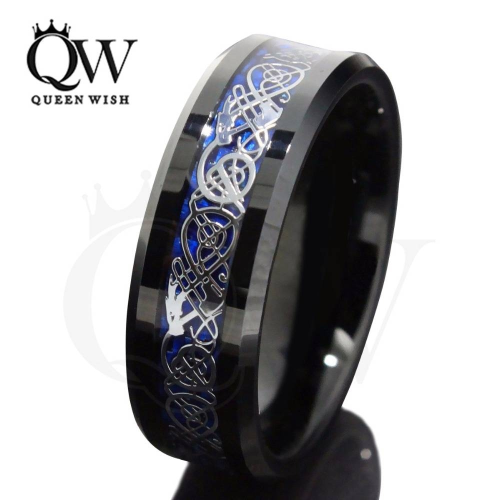 Aliexpress : Buy 8Mm Black Tungsten Carbide Ring Silvering With Men's Black And Blue Wedding Bands (View 3 of 15)