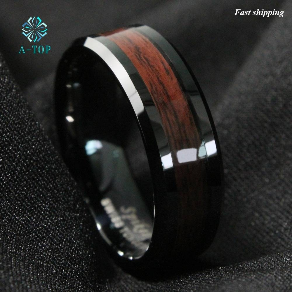 Aliexpress : Buy 8Mm Men's Tungsten Carbide Ring Red Wood With Regard To Men's Black And Red Wedding Bands (View 2 of 15)