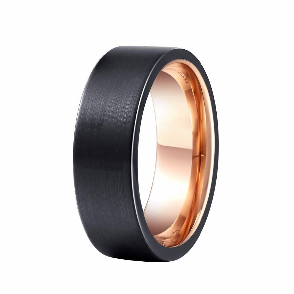 Aliexpress : Buy 8Mm Men's Wedding Band Black Rose Gold Color Regarding Tungsten And Rose Gold Wedding Bands (View 2 of 15)