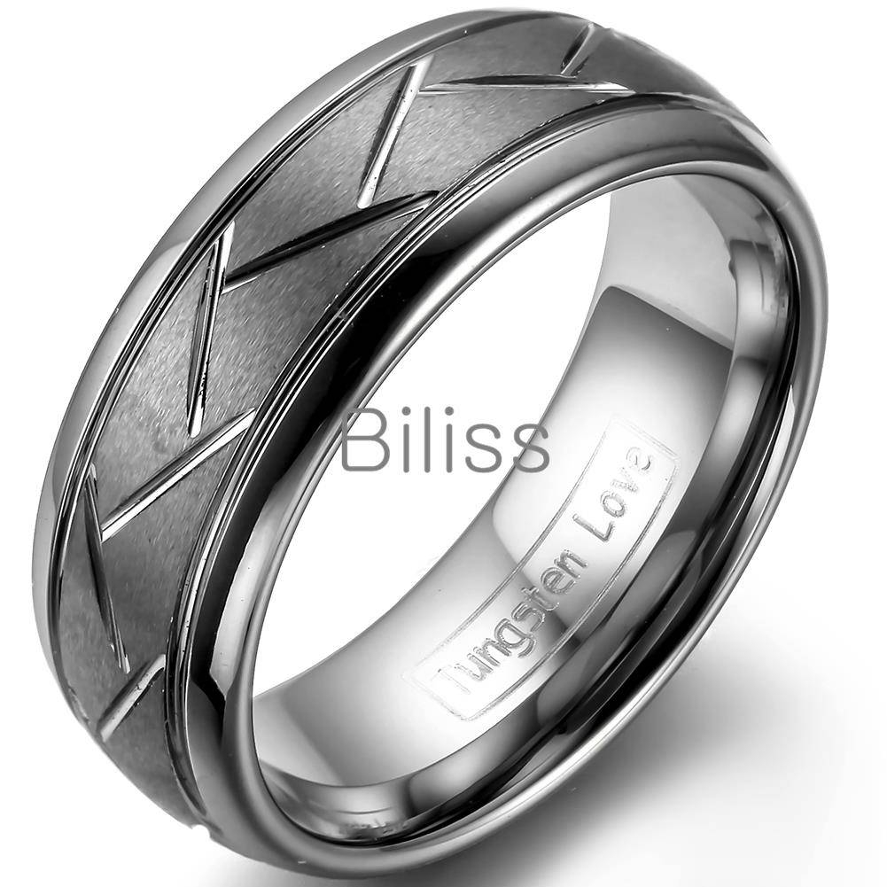 Aliexpress : Buy 8mm Top Quality Gray Brushed Finish Tungsten Inside Grey Tungsten Wedding Bands (View 14 of 15)