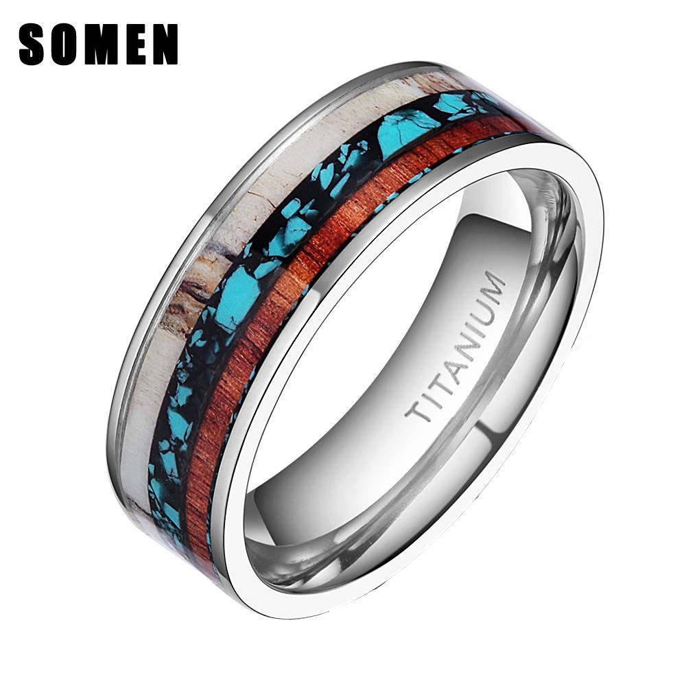 Aliexpress : Buy 8mm Vintage Wood Antlers Inlay Titanium Ring Inside Wood And Metal Wedding Bands (View 9 of 15)