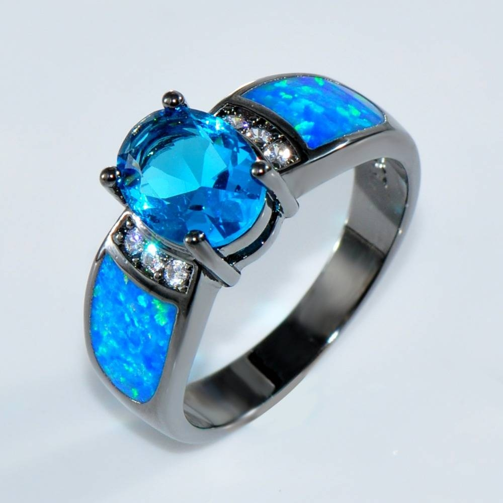 Aliexpress : Buy Bamos Jewelry Women Wedding Ocean Blue Opal Inside Blue Opal Wedding Rings (View 3 of 15)