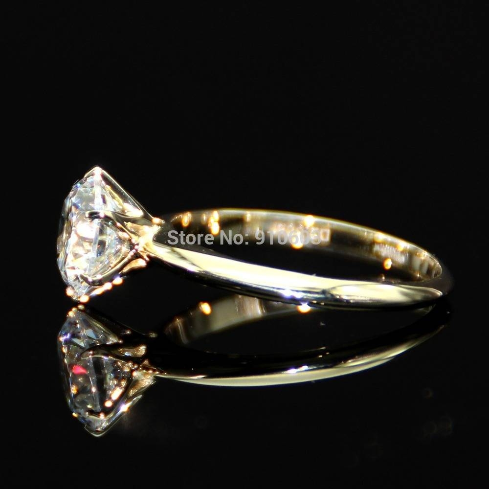 Aliexpress : Buy Classic Wedding Ring With 6 Prong 2 Carat Lab With Regard To Classic Gold Wedding Rings (View 2 of 15)