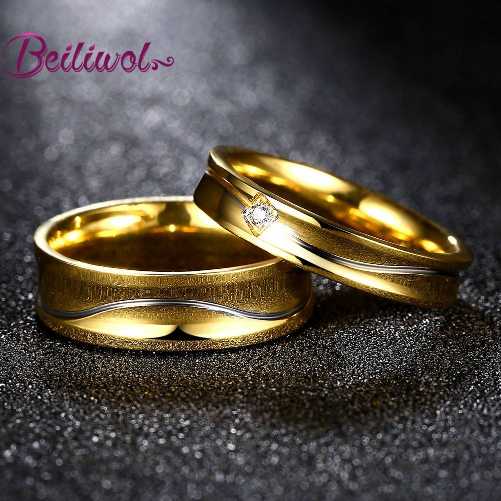 Aliexpress : Buy Engraved Name Couple Ring Ladies Jewelry Gold With Wedding Rings With Name Engraved (View 7 of 15)