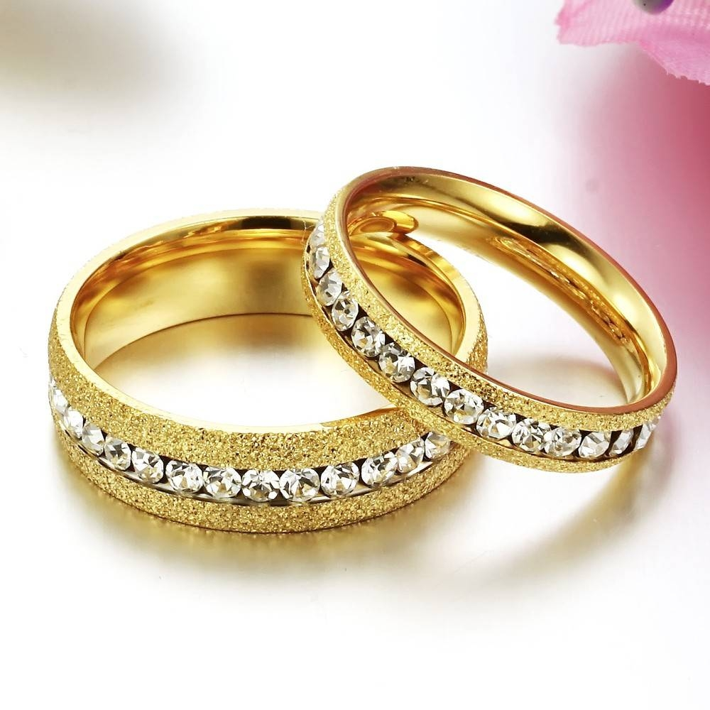 Aliexpress : Buy Fate Love Shinning Couple Jewelry Gold Color Intended For Engagement Rings Pair (View 4 of 15)