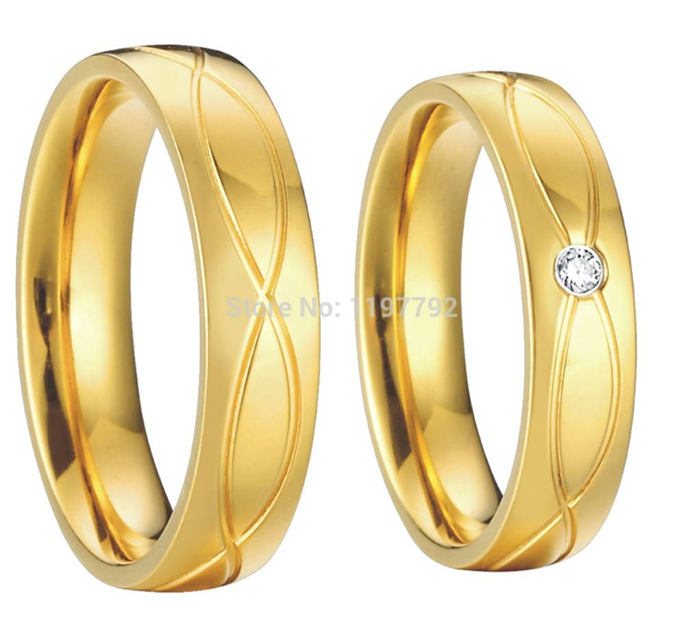 Aliexpress : Buy Gold Color Health Jewelry Titanium Steel Pertaining To 18K Gold Wedding Rings (View 5 of 15)